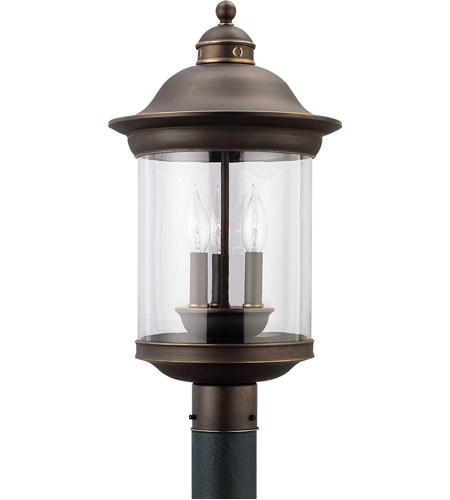 Sea Gull Lighting Hermitage 3 Light Outdoor Post Lantern in Antique Bronze 82081-71