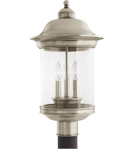 Sea Gull Lighting Hermitage 3 Light Outdoor Post Lantern in Antique Brushed Nickel 82081-965 photo