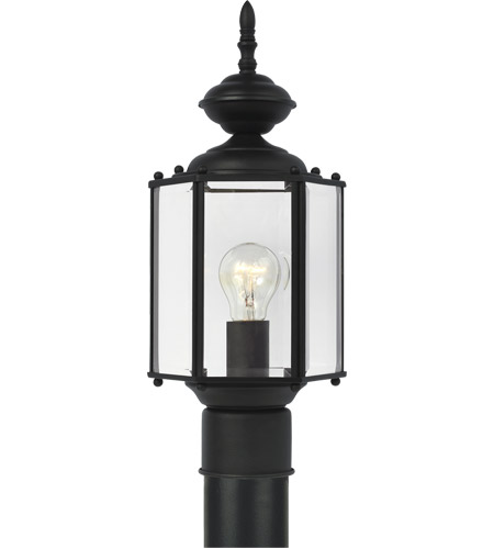 Sea Gull Lighting Classico 1 Light Outdoor Post Lantern in Black 8209-12