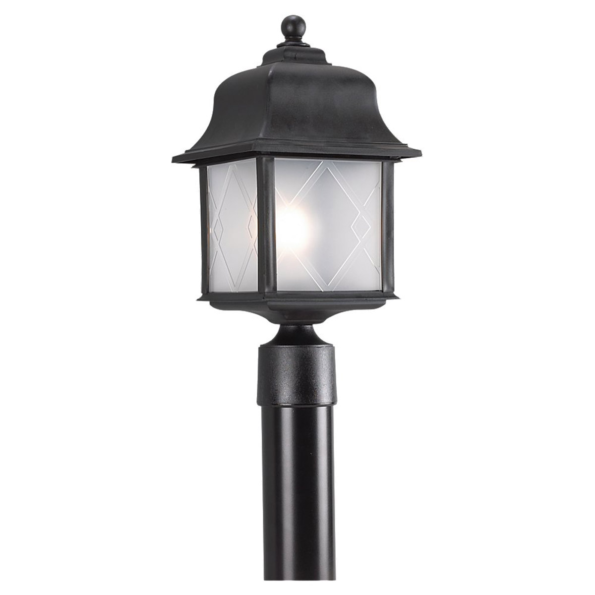 Sea Gull 82092-12 Harbor Point 1 Light 17 inch Black Outdoor Post Lantern photo