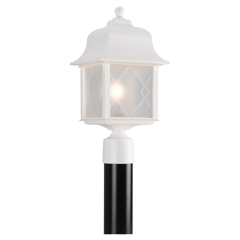 Sea Gull Lighting Harbor Point 1 Light Outdoor Post Lantern in White 82092-15