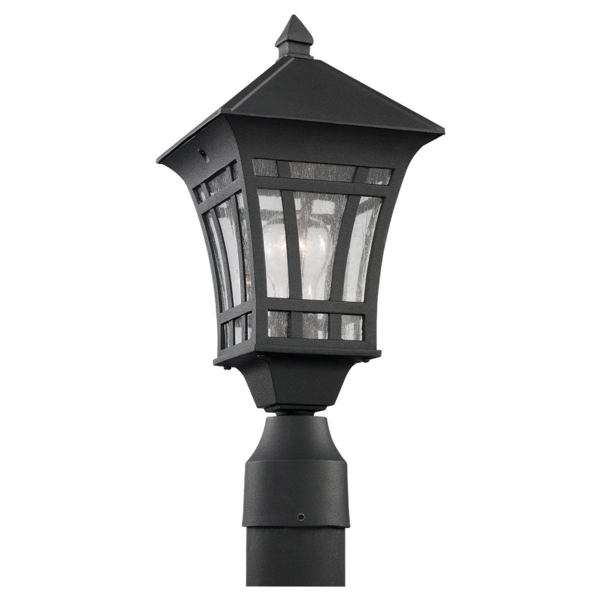 Sea Gull Lighting Herrington 1 Light Outdoor Post Lantern in Black 82131-12 photo