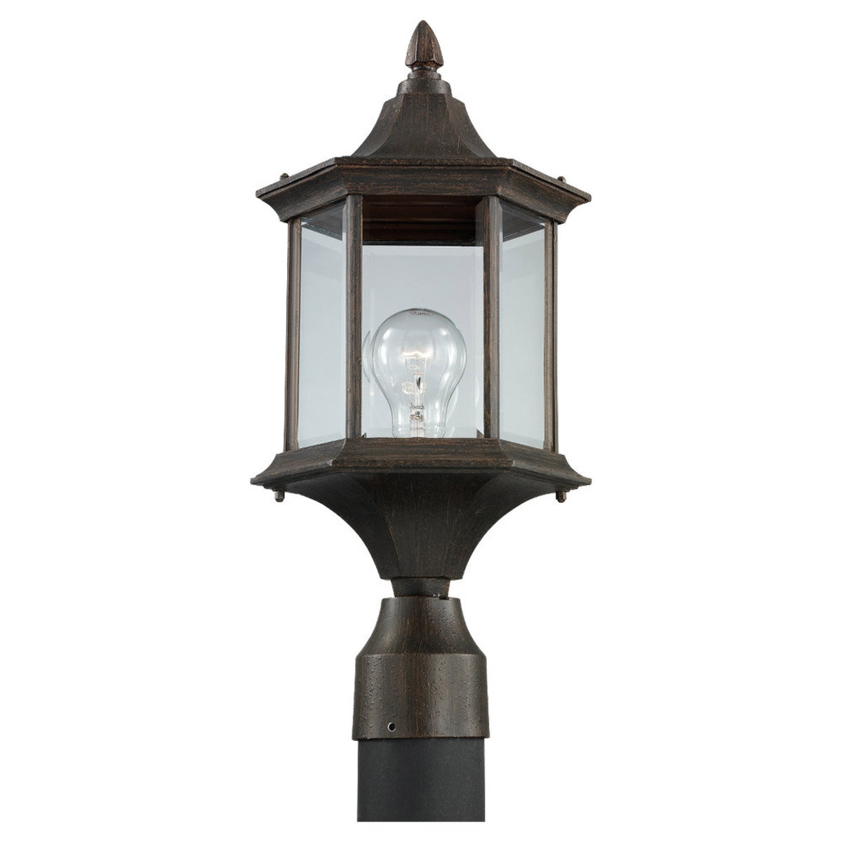 Sea Gull 82136-08 Ardsley Court 1 Light 17 inch Textured Rust Patina Outdoor Post Lantern photo