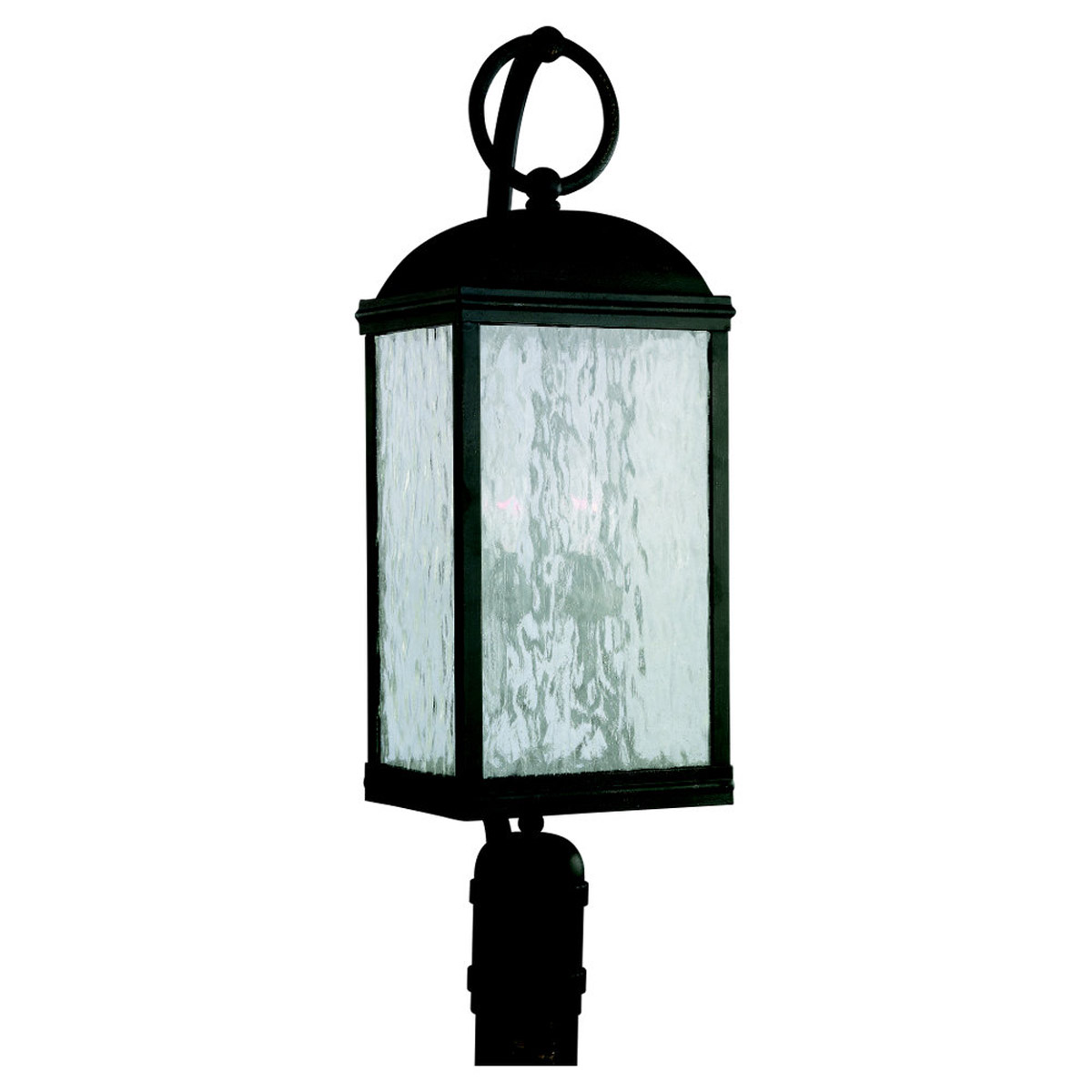 Sea Gull Lighting Branford 2 Light Outdoor Post Lantern in Obsidian Mist 82190-802