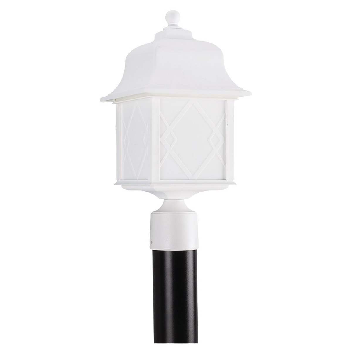 Sea Gull 82192BL-15 Harbor Point 1 Light 17 inch White Post Lantern in Standard photo