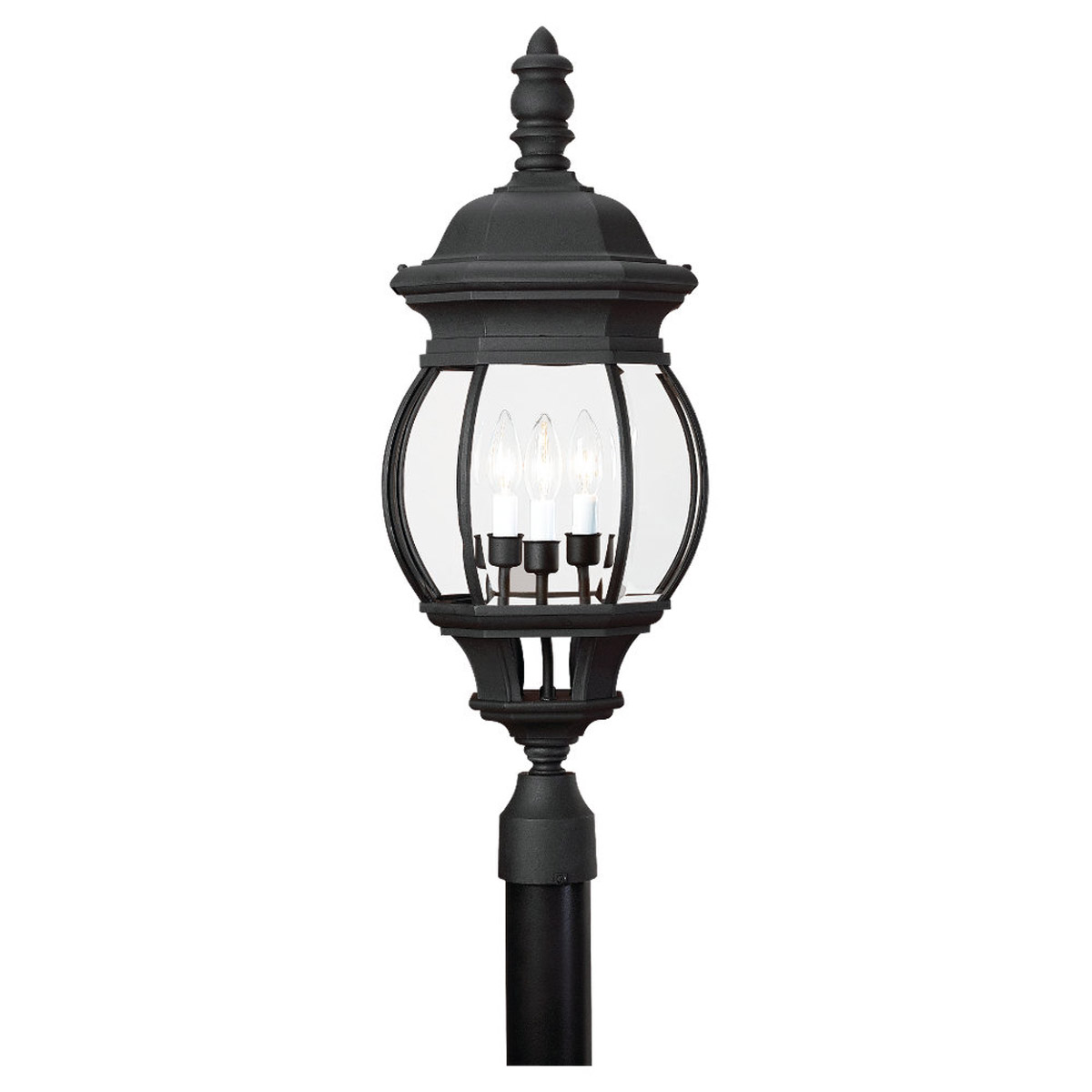 Sea Gull Lighting Wynfield 3 Light Outdoor Post Lantern in Black 82201-12