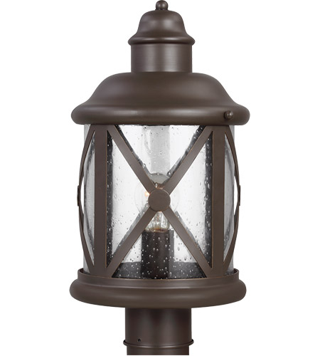 Sea Gull 8221401-71 Lakeview 1 Light 16 inch Antique Bronze Outdoor Post Lantern in Clear Seeded Glass photo