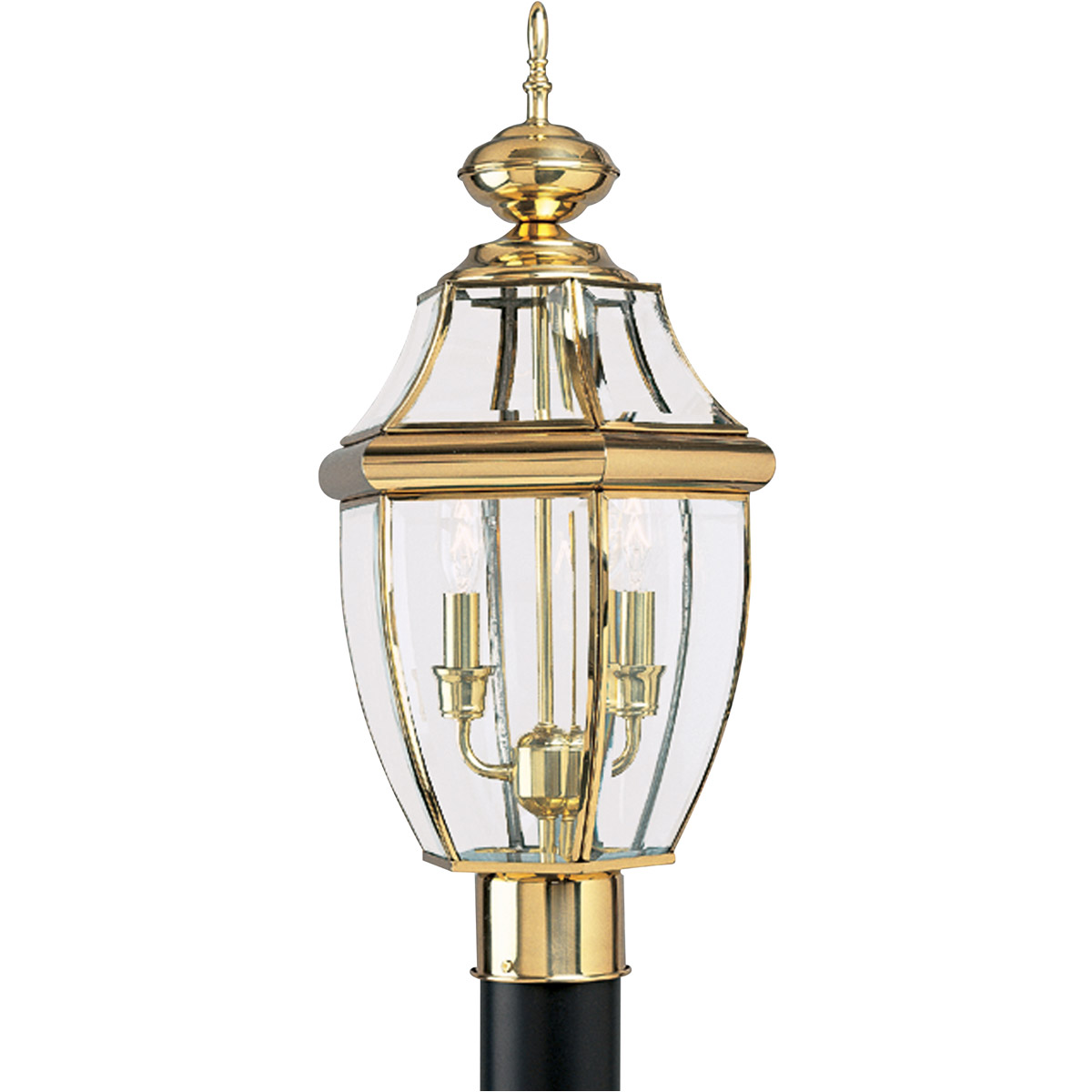 Sea Gull Lighting Lancaster 2 Light Outdoor Post Lantern in Polished Brass 8229-02