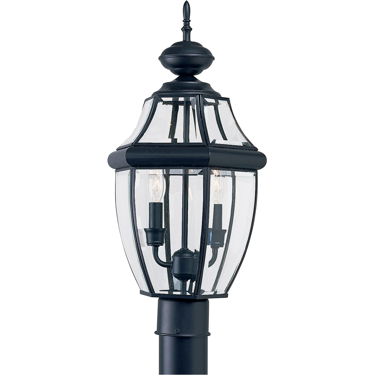 Sea Gull Lighting Lancaster 2 Light Outdoor Post Lantern in Black 8229-12 photo