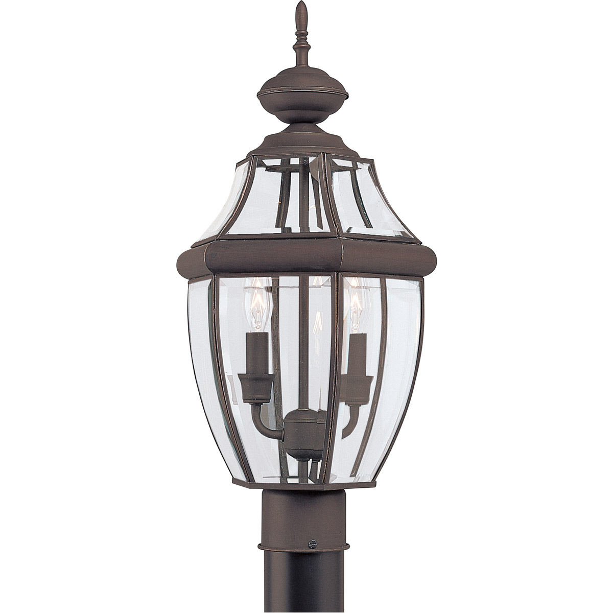 Sea Gull Lighting Lancaster 2 Light Outdoor Post Lantern in Antique Bronze 8229-71