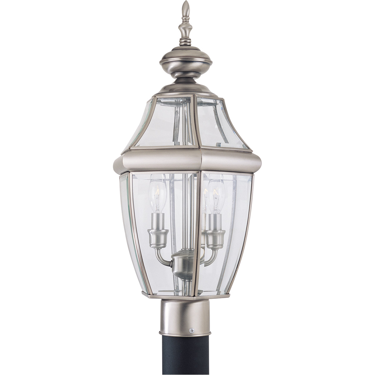 Sea Gull Lighting Lancaster 2 Light Outdoor Post Lantern in Antique Brushed Nickel 8229-965 photo