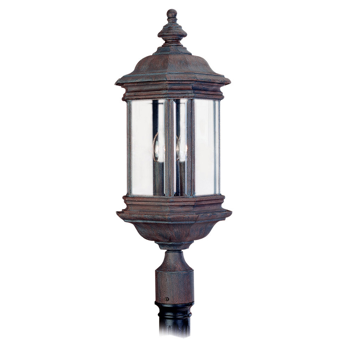 Sea Gull Lighting Hill Gate 3 Light Outdoor Post Lantern in Textured Rust Patina 8238-08