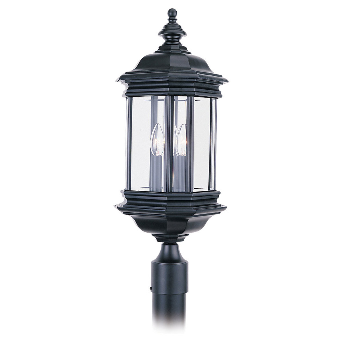 Sea Gull Lighting Hill Gate 3 Light Outdoor Post Lantern in Black 8238-12