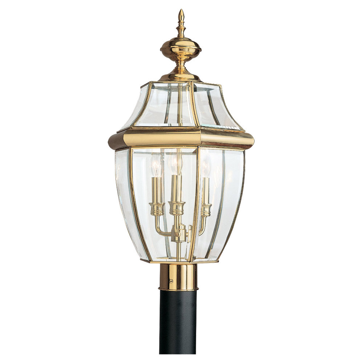 Sea Gull Lighting Lancaster 3 Light Outdoor Post Lantern in Polished Brass 8239-02