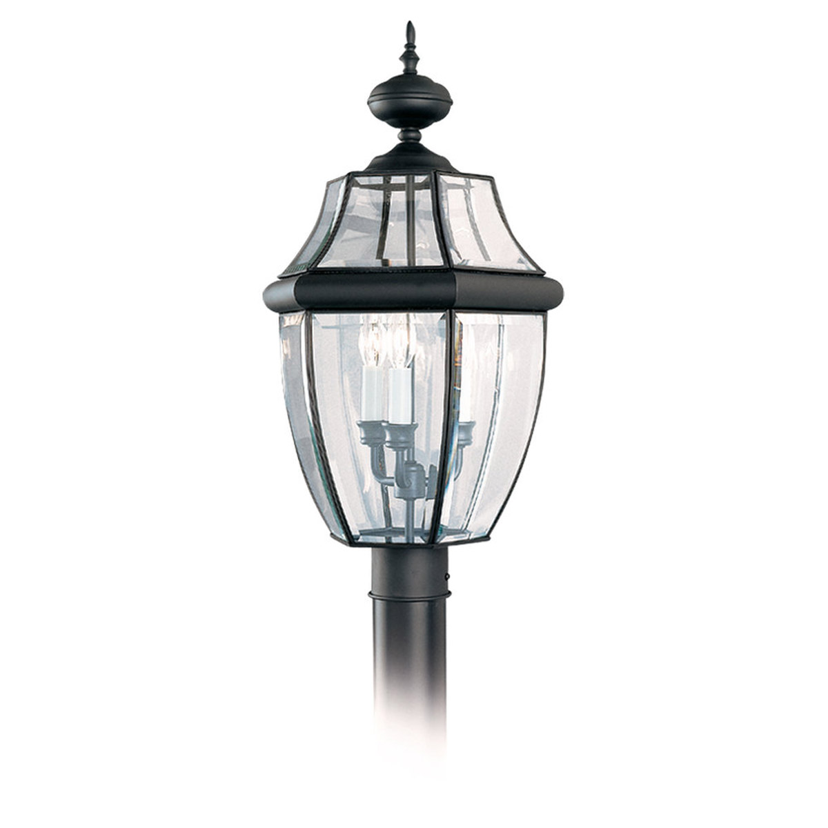Sea Gull Lighting Lancaster 3 Light Outdoor Post Lantern in Black 8239-12