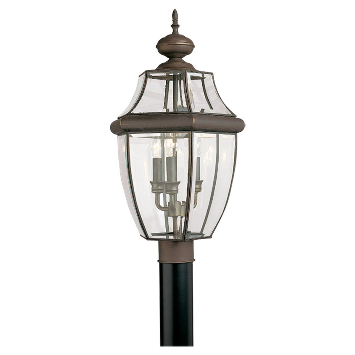 Sea Gull Lighting Lancaster 3 Light Outdoor Post Lantern in Antique Bronze 8239-71