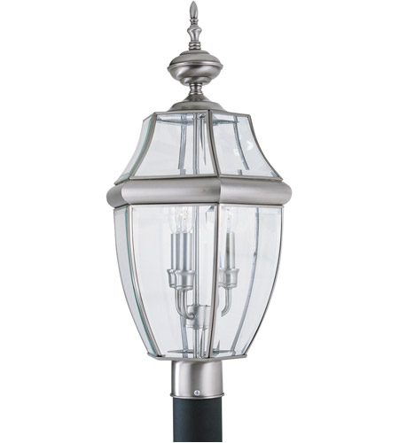 Sea Gull 8239-965 Lancaster 3 Light 24 inch Antique Brushed Nickel Outdoor Post Lantern photo