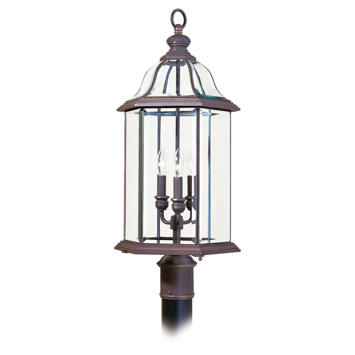 Sea Gull Lighting Barclay 3 Light Outdoor Post Lantern in Antique Bronze 8251-71 photo