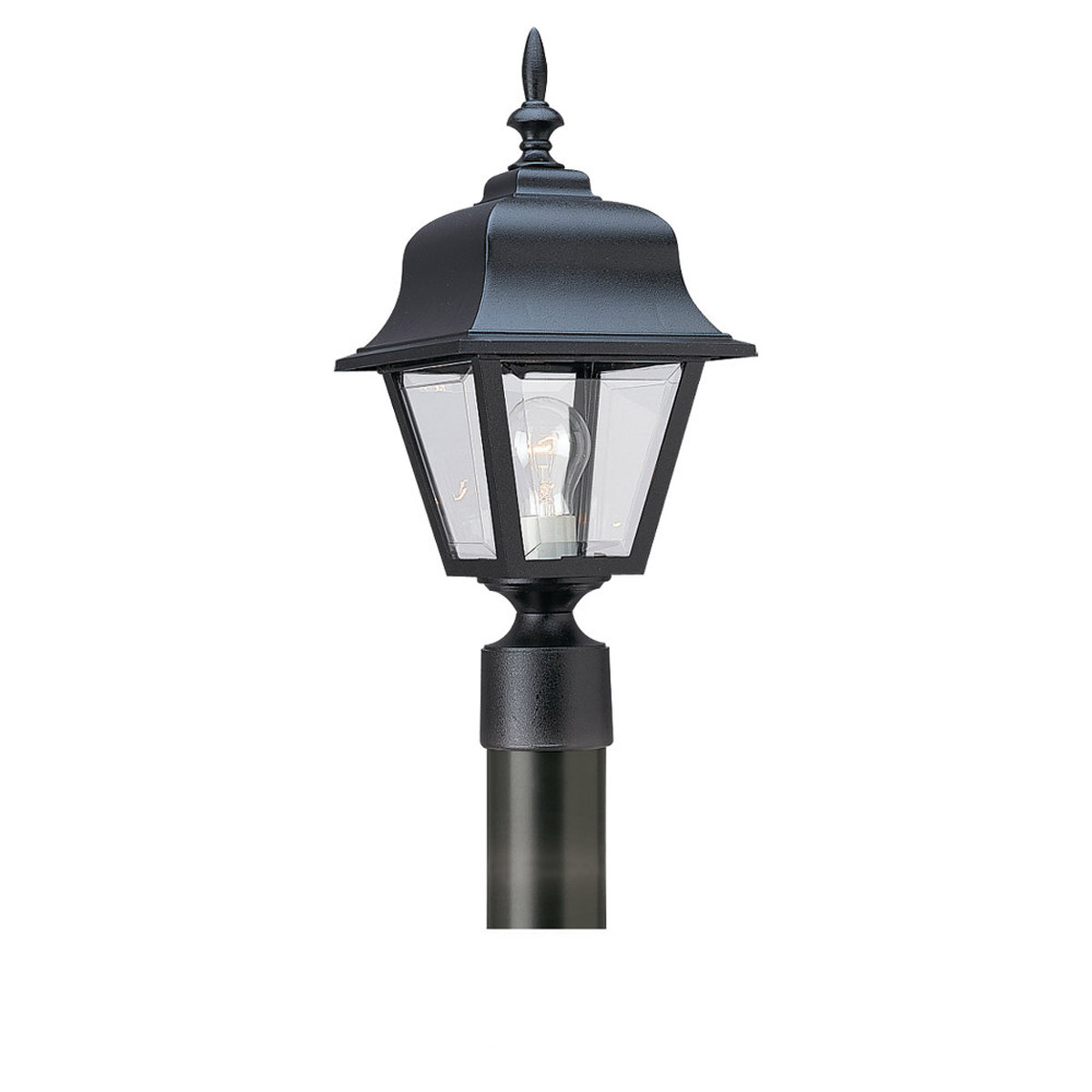 Sea Gull Lighting Polycarb Painted Lanterns 1 Light Outdoor Post Lantern in Black 8255-12