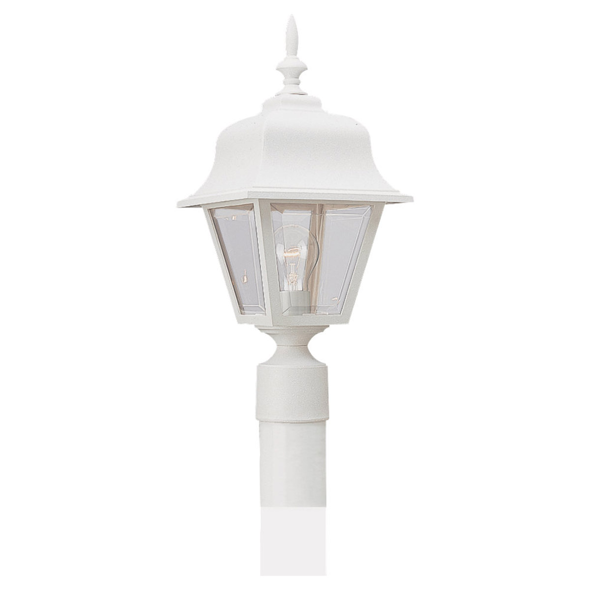 Sea Gull Lighting Polycarb Painted Lanterns 1 Light Outdoor Post Lantern in White 8255-15 photo