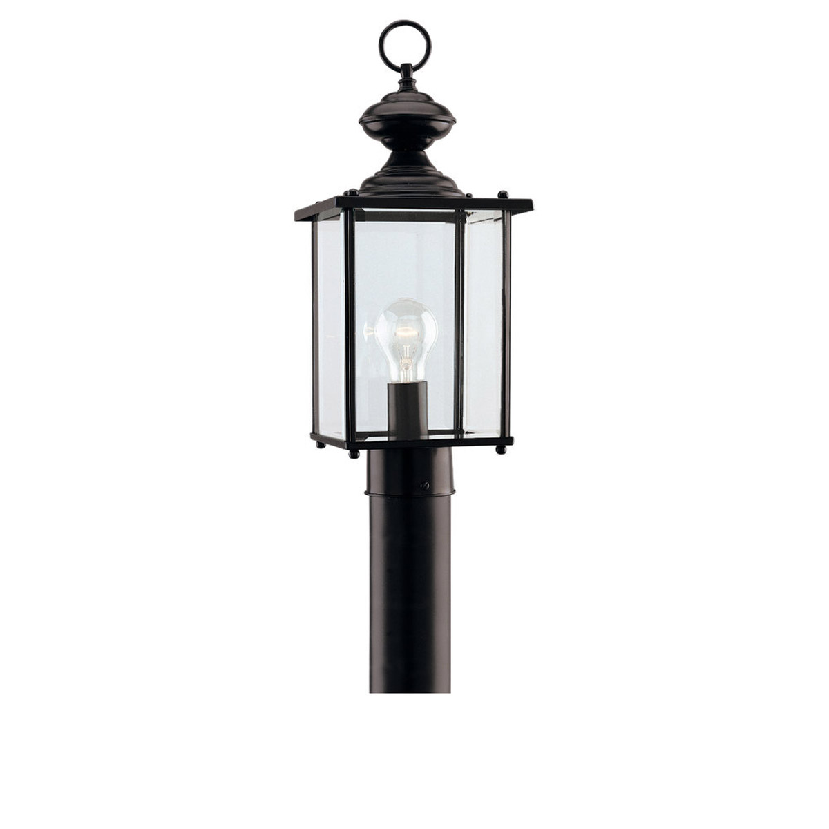 Sea Gull Lighting Jamestowne 1 Light Outdoor Post Lantern in Black 8257-12