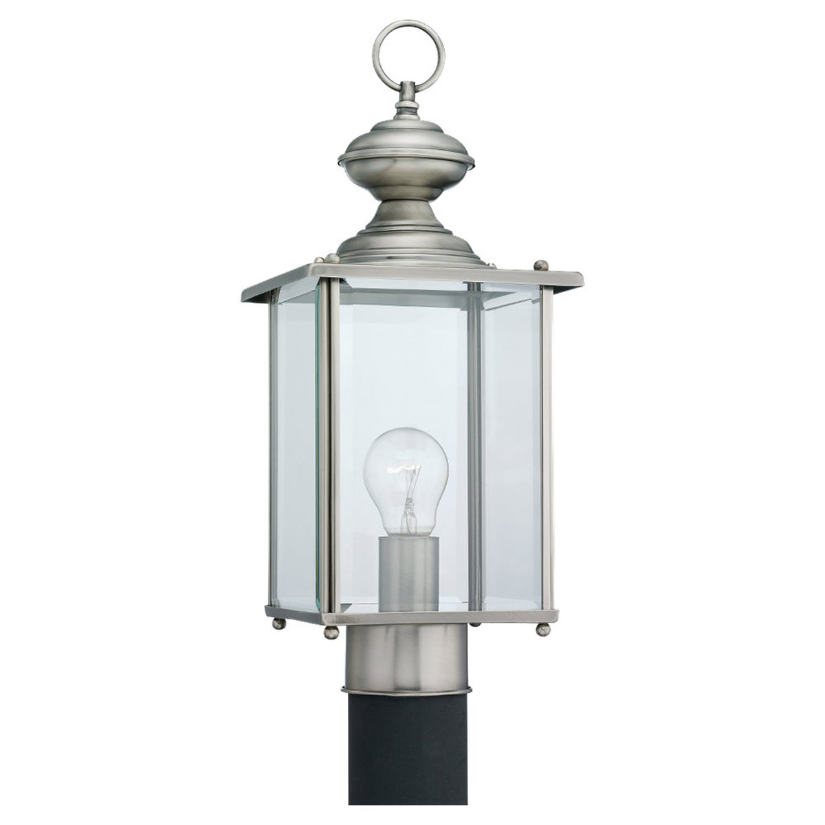Sea Gull Lighting Jamestowne 1 Light Outdoor Post Lantern in Antique Brushed Nickel 8257-965