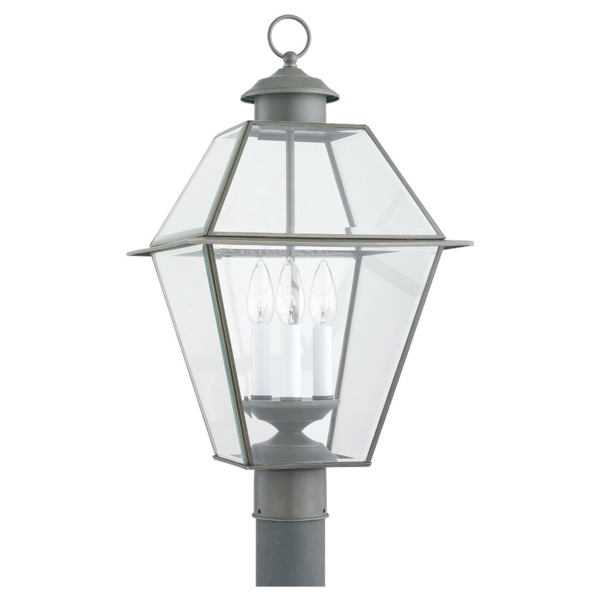 Sea Gull Lighting Colony 3 Light Outdoor Post Lantern in Antique Bronze 8258-71