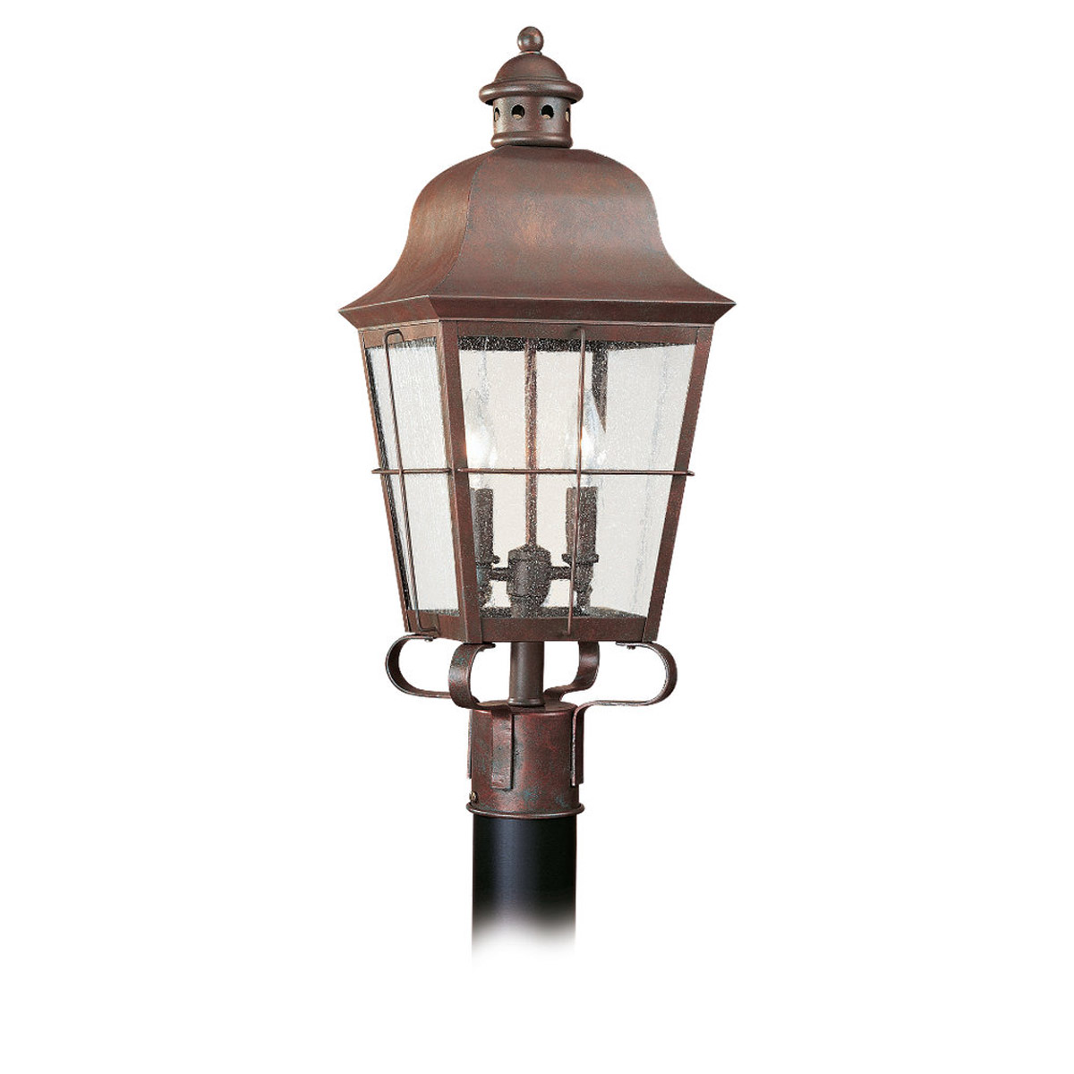 Sea Gull Lighting Chatham 2 Light Outdoor Post Lantern in Weathered Copper 8262-44