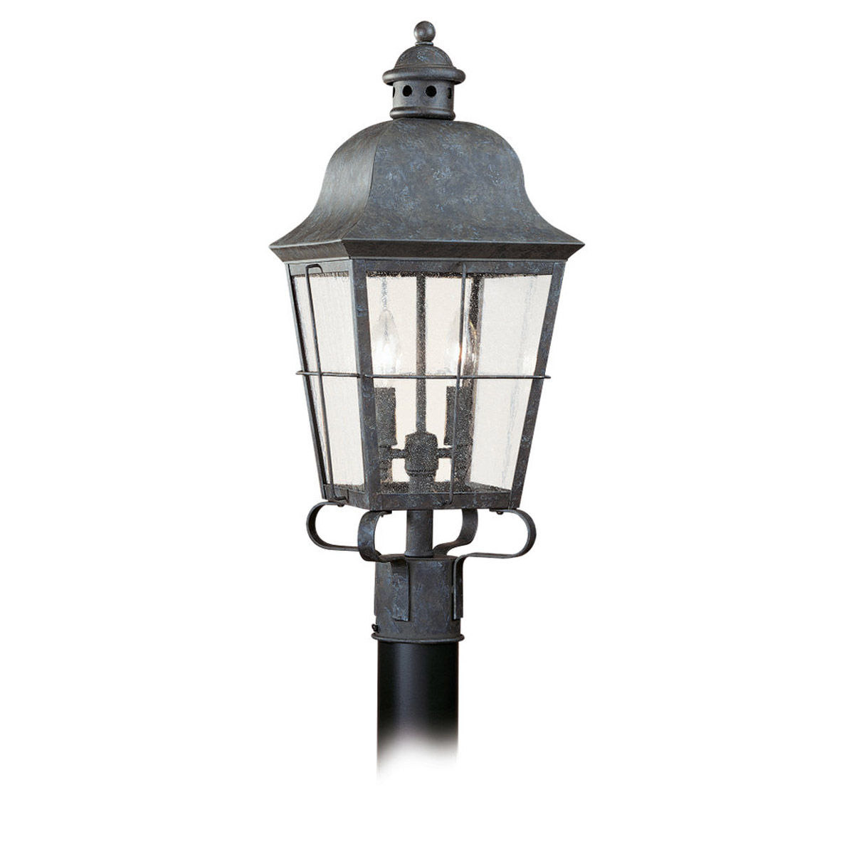 Sea Gull Lighting Chatham 2 Light Outdoor Post Lantern in Oxidized Bronze 8262-46