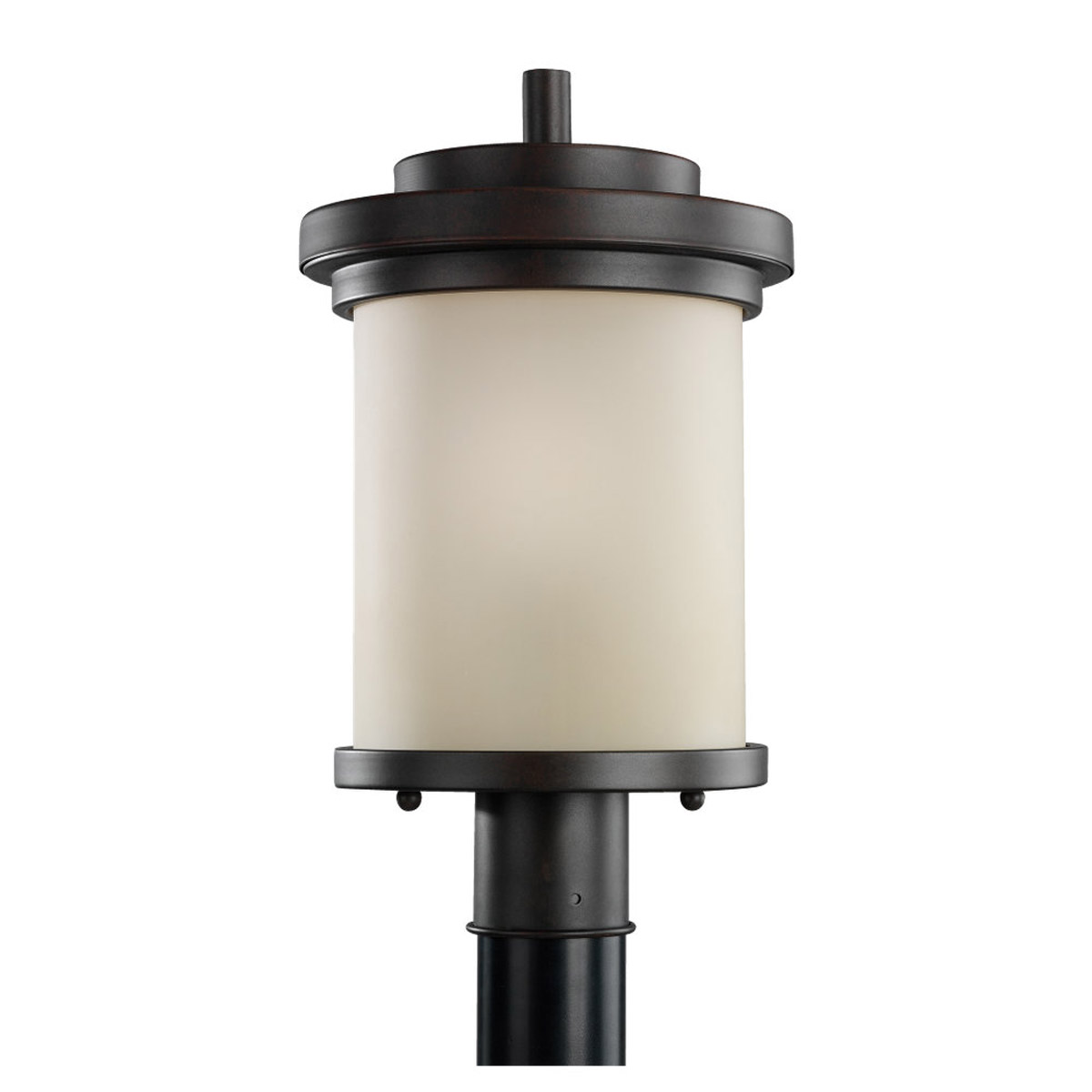 Sea Gull 82660-814 Winnetka 1 Light 18 inch Misted Bronze Outdoor Post Lantern in Cafe Tint Glass photo