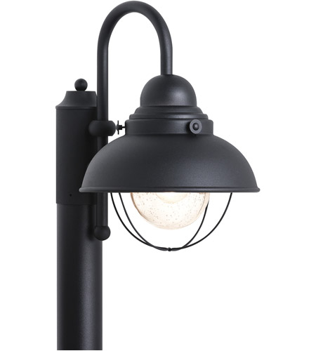 Sea Gull Lighting Sebring 1 Light Outdoor Post Lantern in Black 8269-12 photo