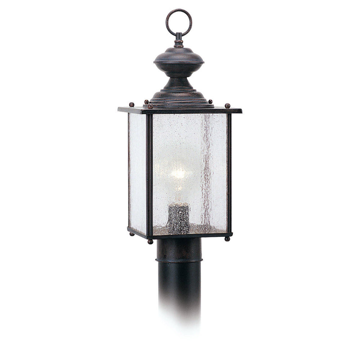 Sea Gull Lighting Jamestowne 1 Light Outdoor Post Lantern in Textured Rust Patina 8286-08