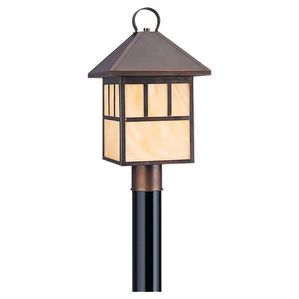Sea Gull 82947BL-71 Prairie Statement 1 Light 19 inch Antique Bronze Outdoor Post Lantern in No Photocell photo