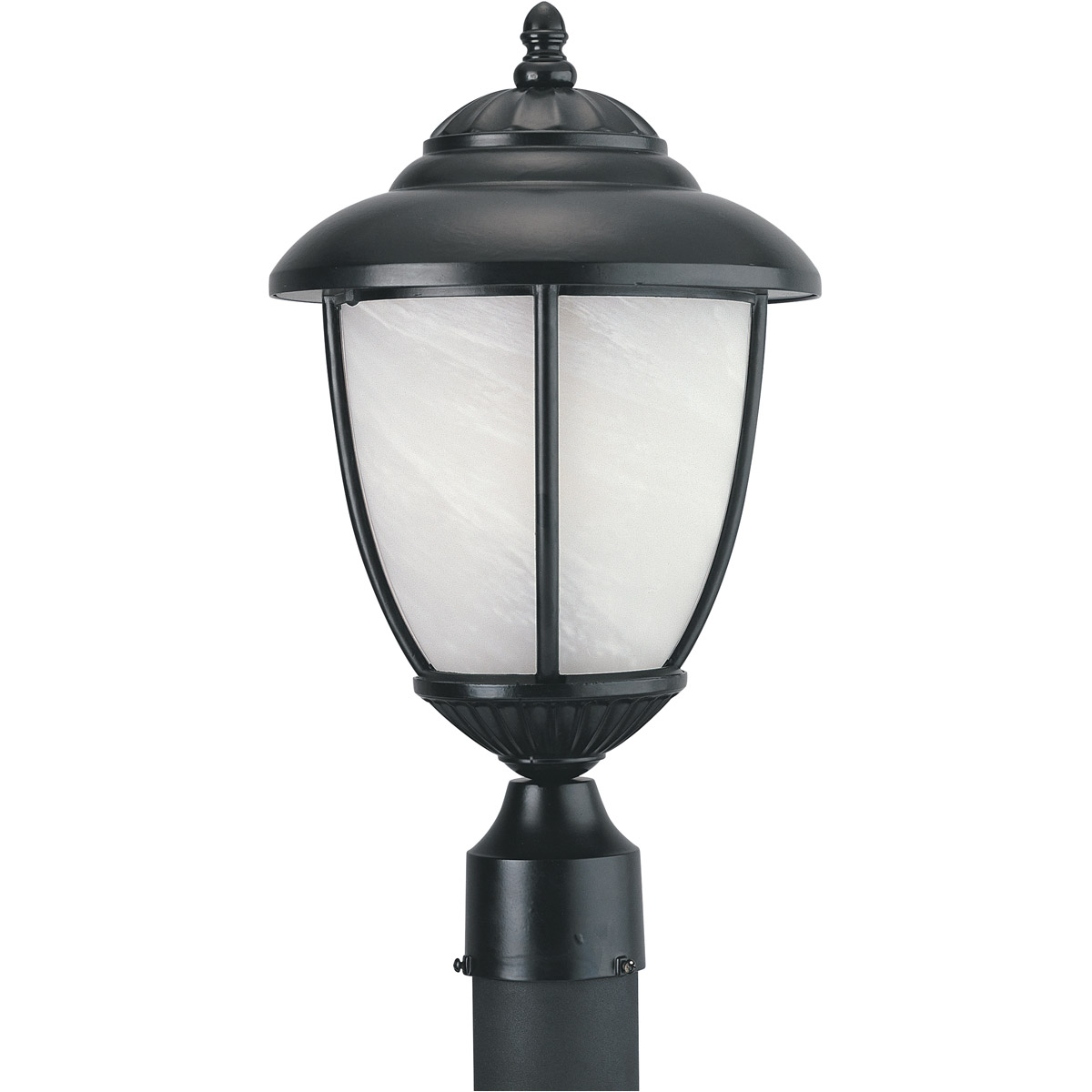 Sea Gull Lighting Yorktown 1 Light Outdoor Post Lantern in Black 82950PBL-12