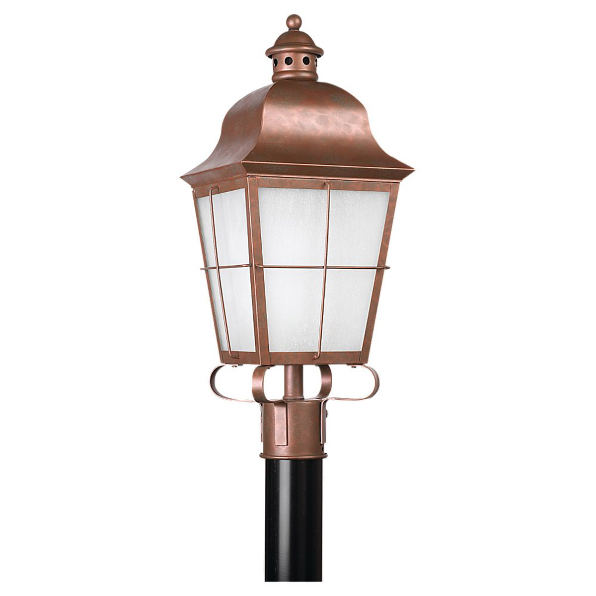 Sea Gull 82973BL-44 Chatham 1 Light 23 inch Weathered Copper Outdoor Post Lantern in No Photocell photo