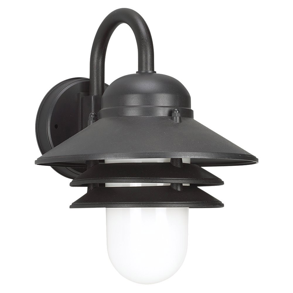 Sea Gull Lighting Nautical 1 Light Outdoor Wall Lantern in Black 83055-12