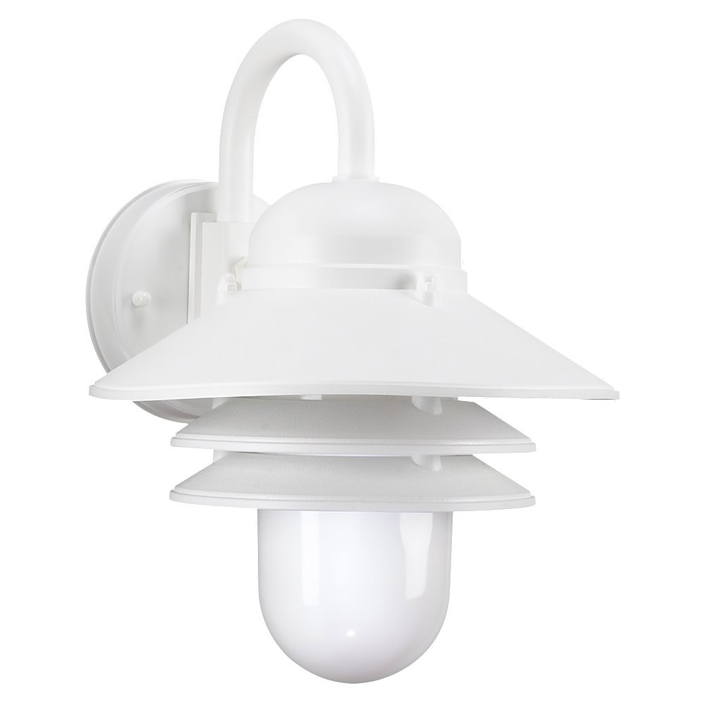 Sea Gull Lighting Nautical 1 Light Outdoor Wall Lantern in White 83055-15