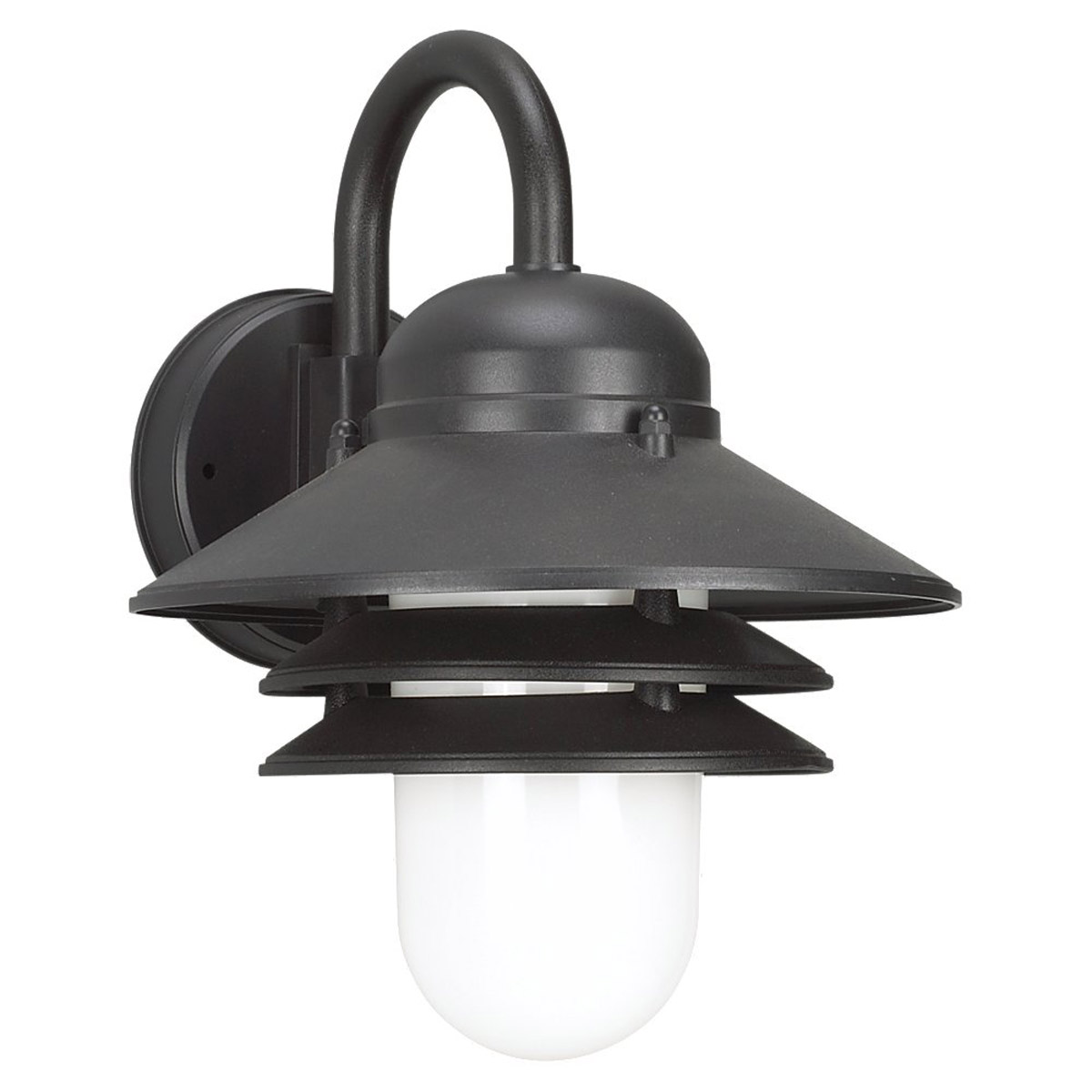 Sea Gull Lighting Nautical 1 Light Outdoor Wall Lantern in Black 83055BLE-12