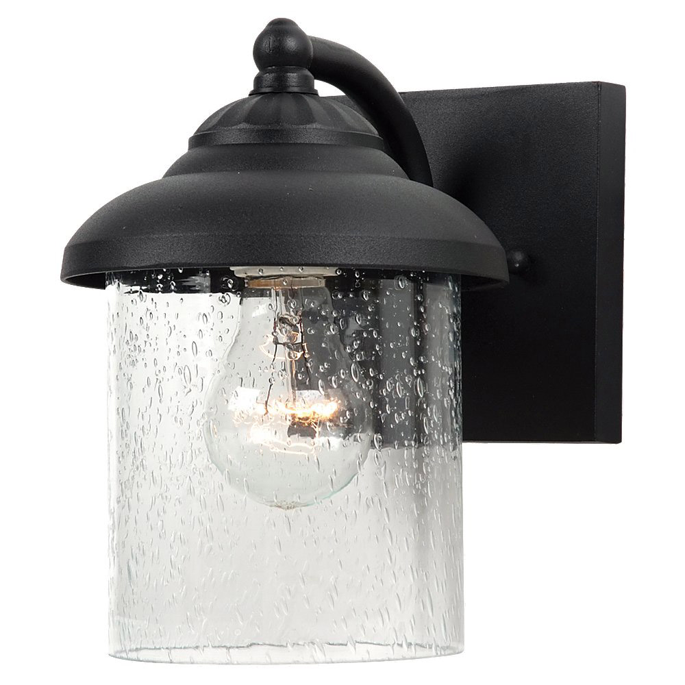 Sea Gull Lighting Lambert Hill 1 Light Outdoor Wall Lantern in Black 84068-12 photo