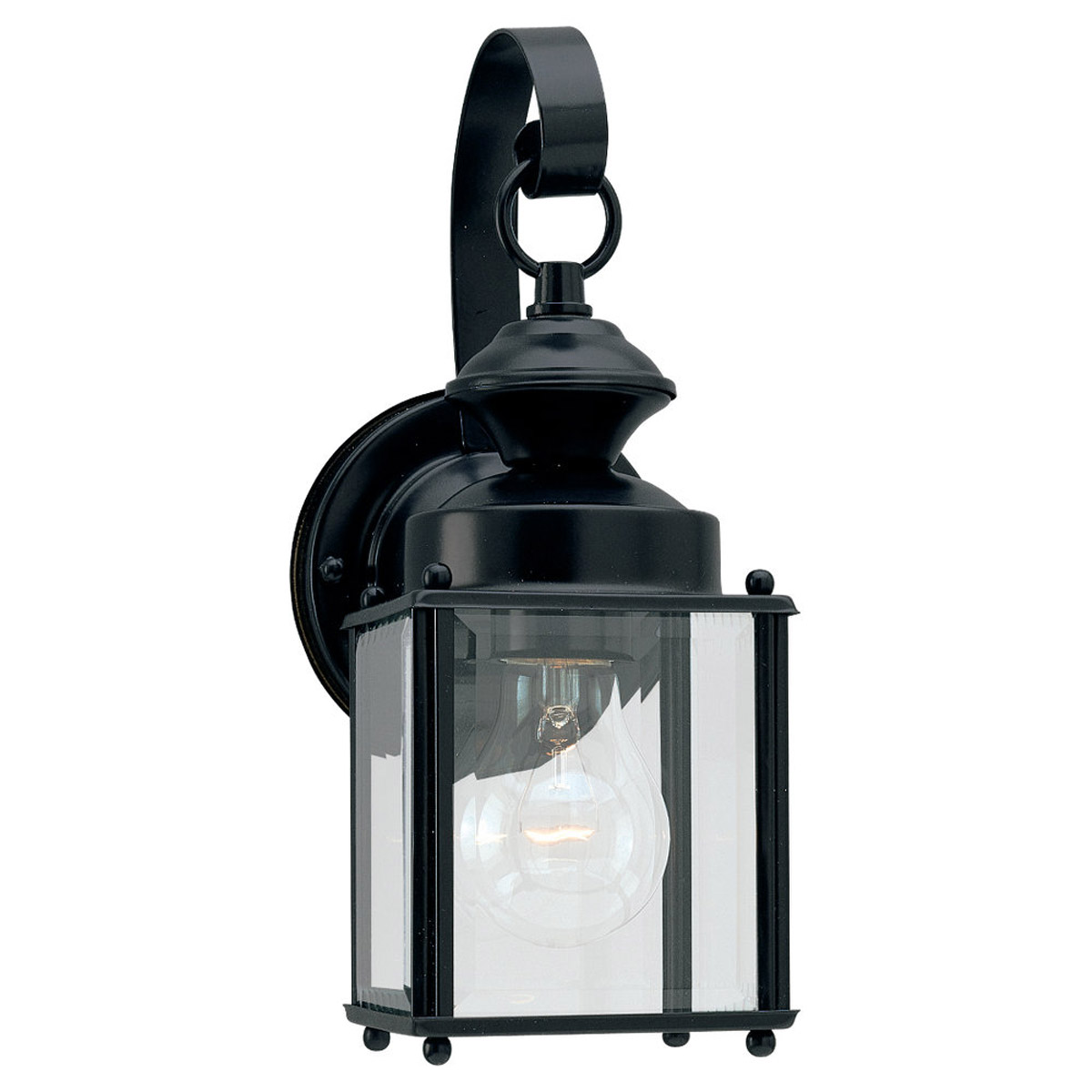 Sea Gull Lighting Jamestowne 1 Light Outdoor Wall Lantern in Black 8456-12
