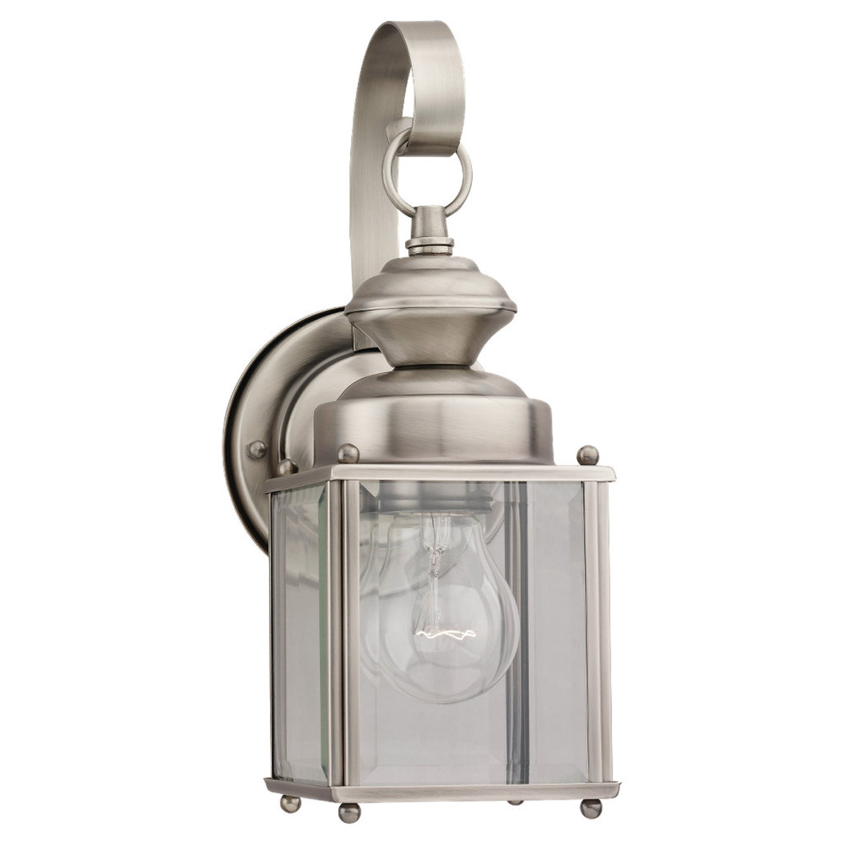 Sea Gull Lighting Jamestowne 1 Light Outdoor Wall Lantern in Antique Brushed Nickel 8456-965