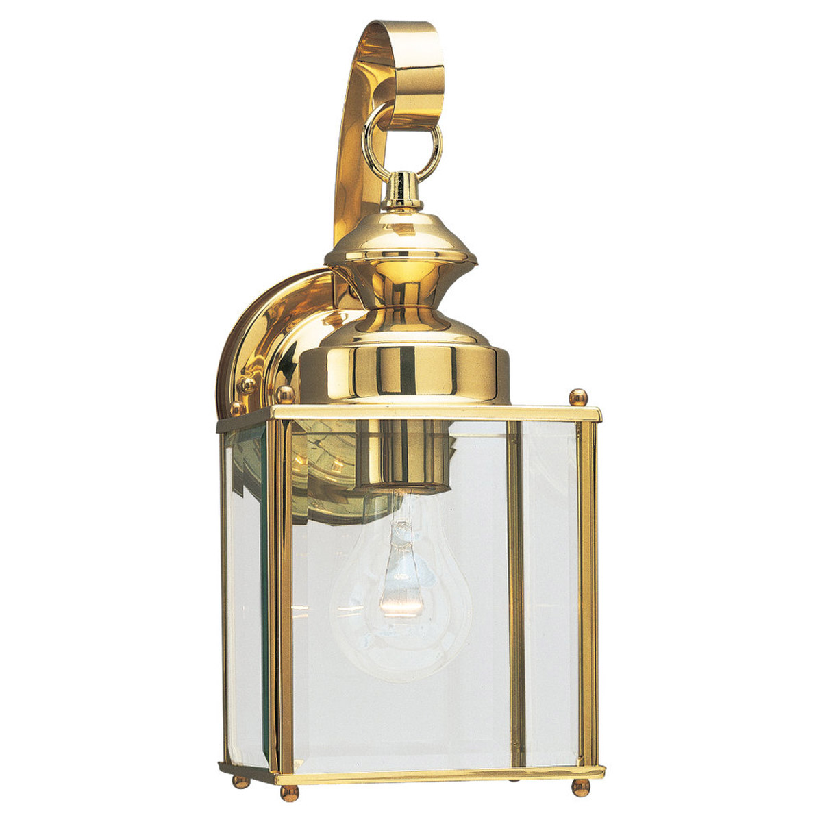 Sea Gull Lighting Jamestowne 1 Light Outdoor Wall Lantern in Polished Brass 8457-02 photo