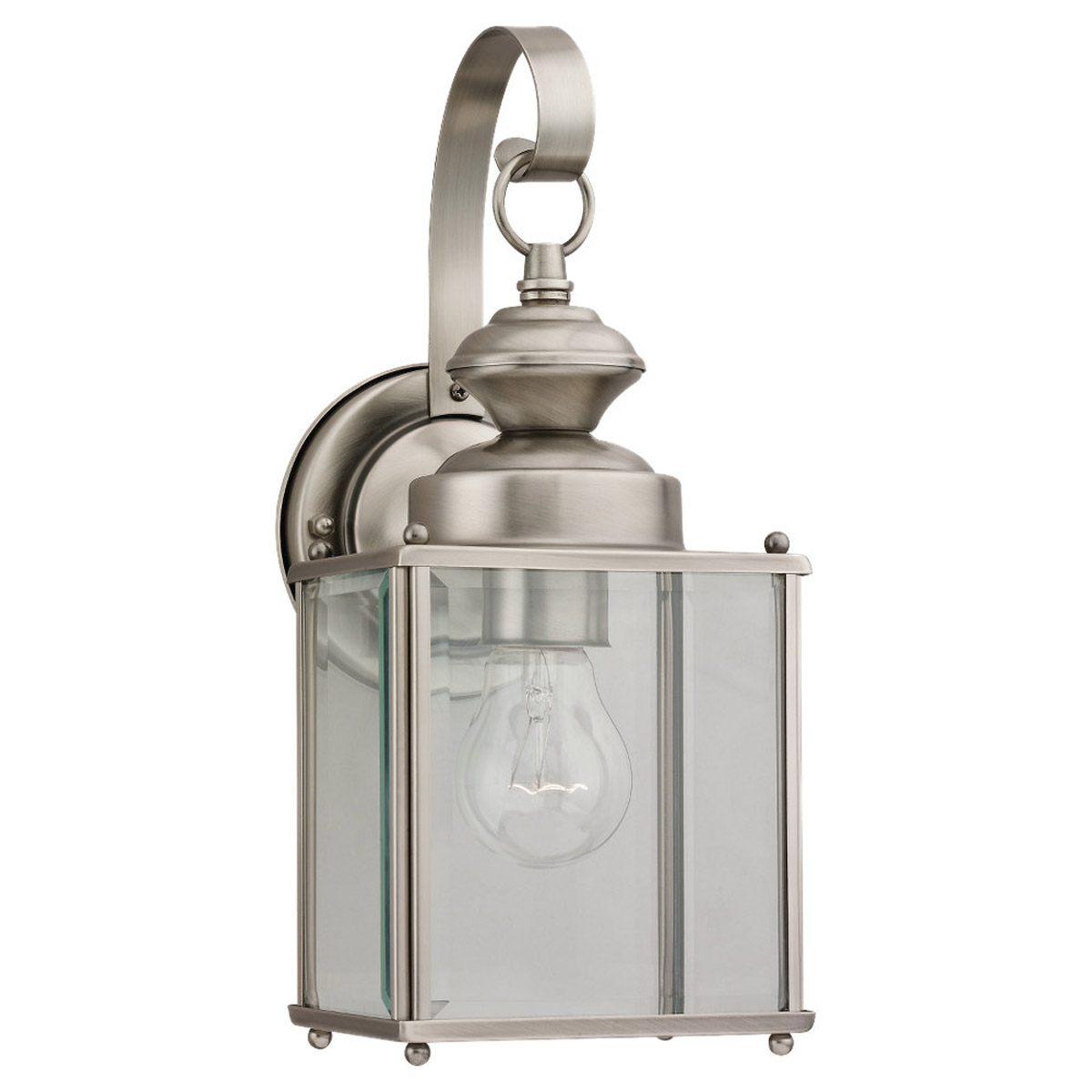 Sea Gull Lighting Jamestowne 1 Light Outdoor Wall Lantern in Antique Brushed Nickel 8457-965