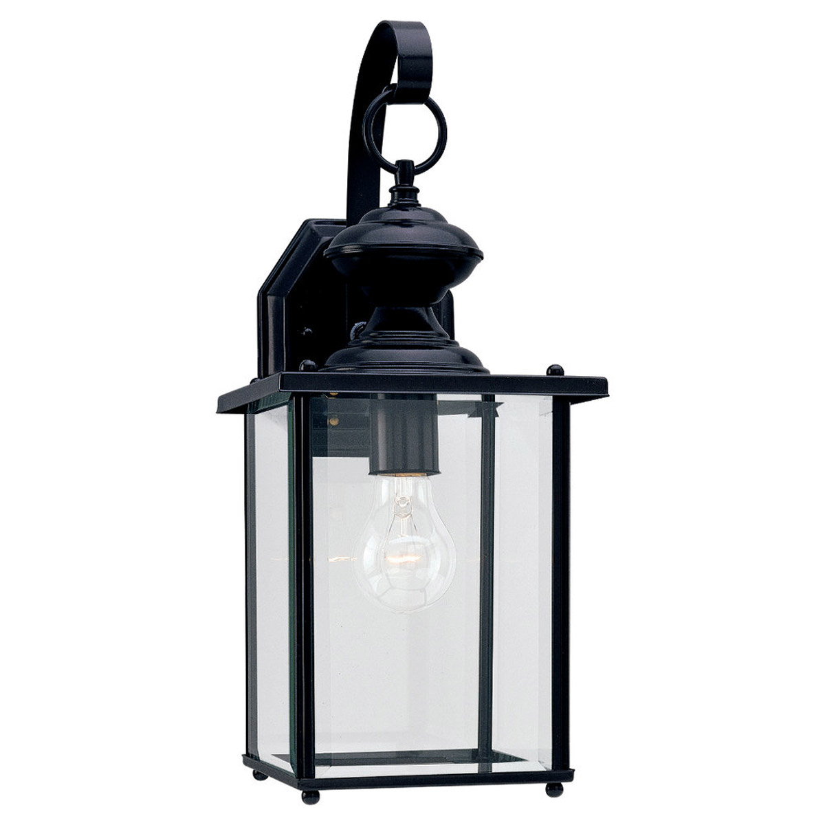 Sea Gull Lighting Jamestowne 1 Light Outdoor Wall Lantern in Black 8458-12
