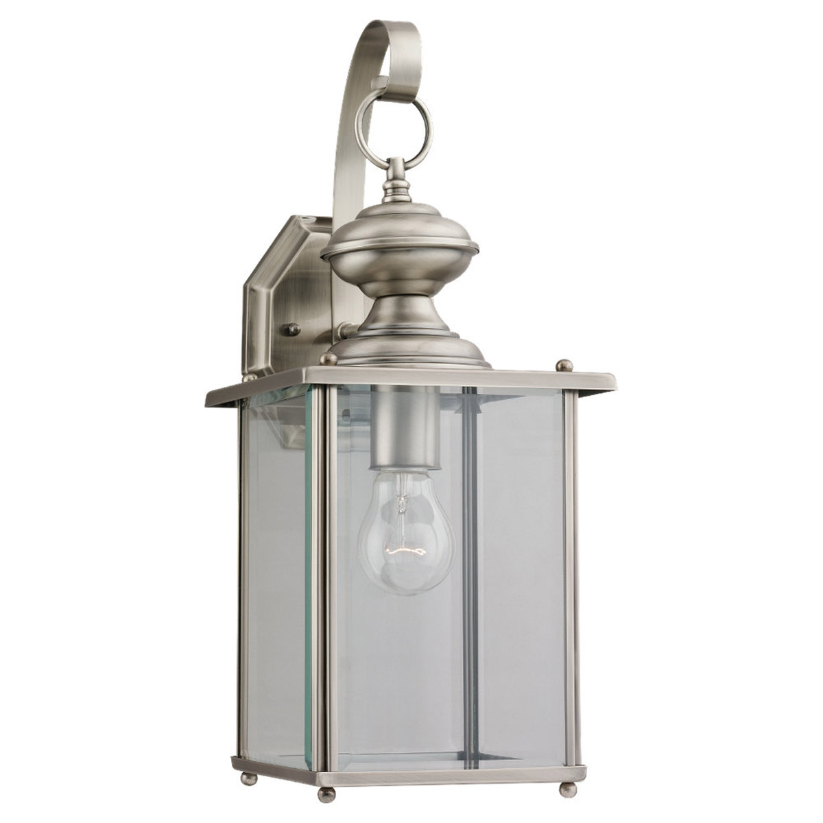 Sea Gull Lighting Jamestowne 1 Light Outdoor Wall Lantern in Antique Brushed Nickel 8458-965