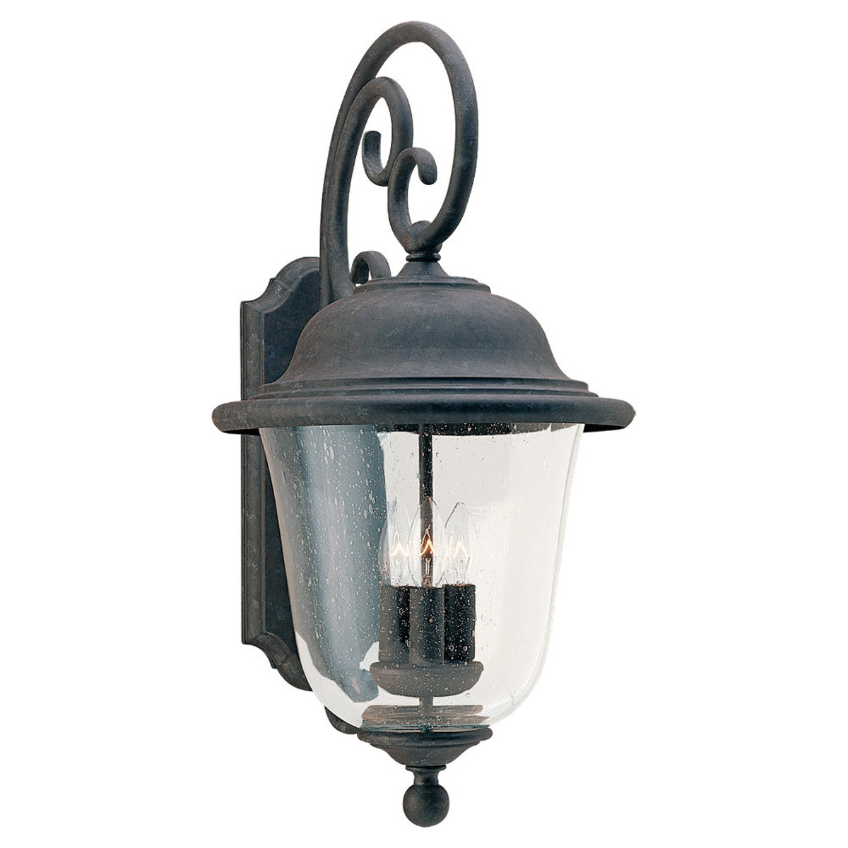 Sea Gull Lighting Trafalgar 3 Light Outdoor Wall Lantern in Oxidized Bronze 8461-46