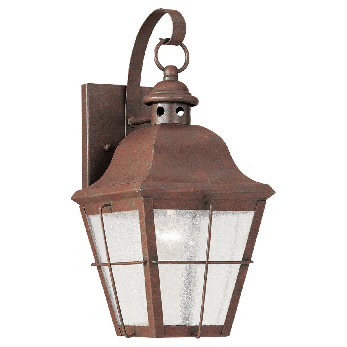 Sea Gull 8462-44 Chatham 1 Light 14 inch Weathered Copper Outdoor Wall Lantern in Clear Seeded Glass photo