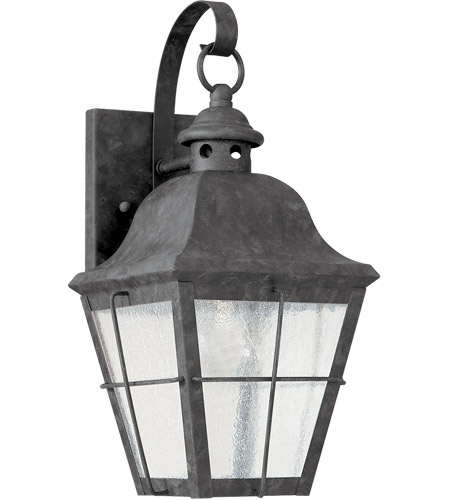 Sea Gull 8462-46 Chatham 1 Light 14 inch Oxidized Bronze Outdoor Wall Lantern in Clear Seeded Glass photo