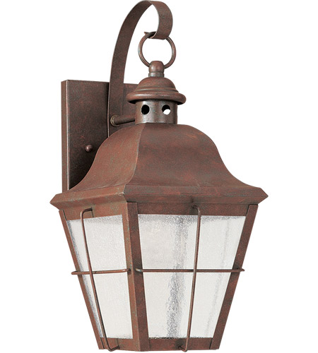 Sea Gull 8462D-44 Chatham 1 Light 14 inch Weathered Copper Outdoor Wall Lantern in Clear Seeded with inner white panels photo