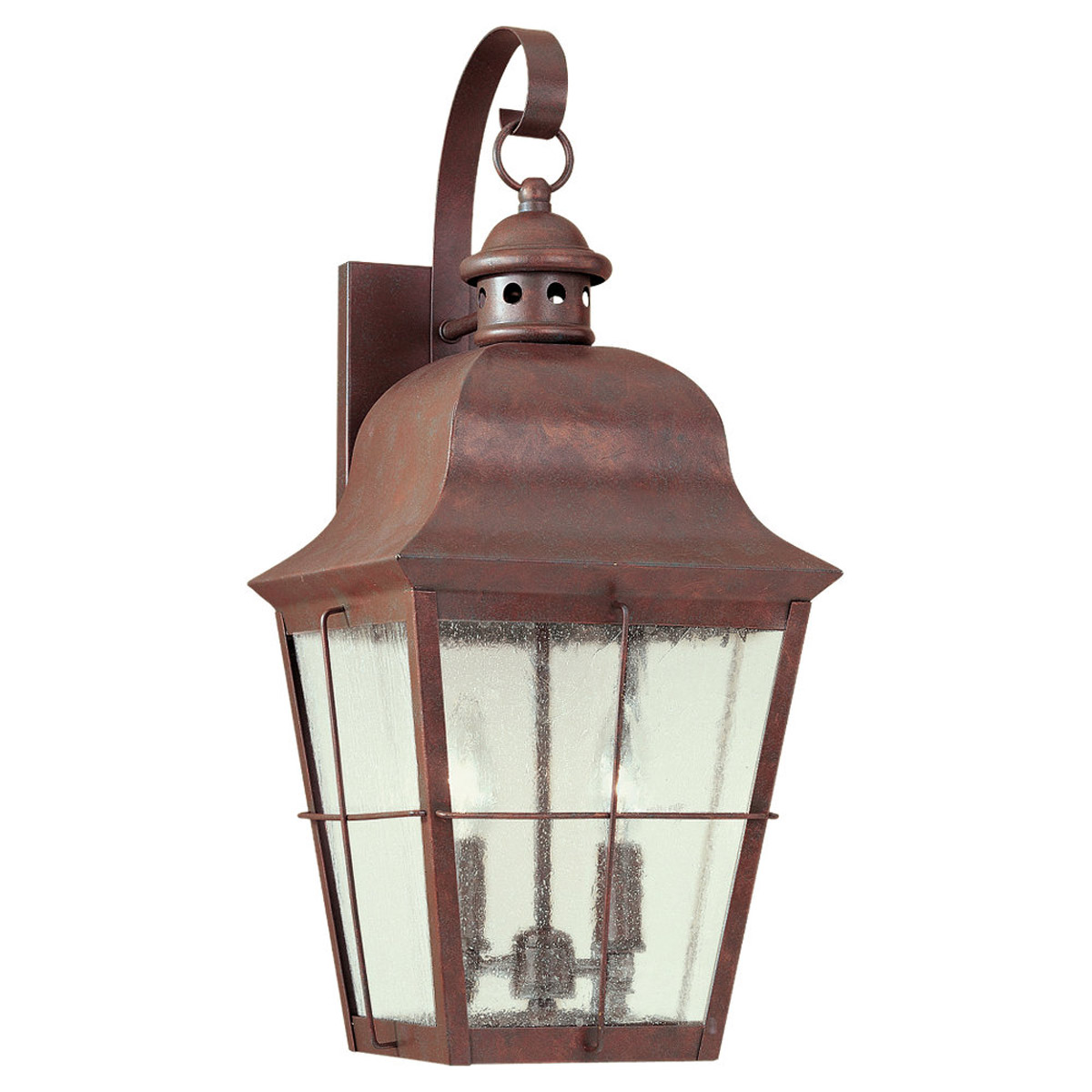 Sea Gull 8463-44 Chatham 2 Light 21 inch Weathered Copper Outdoor Wall Lantern in Clear Seeded Glass photo